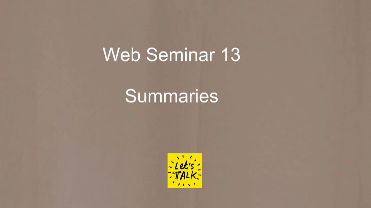 Web Seminar 13 - Summaries